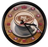 San Francisco 49ers Latteam Coffee Art Glass Wall Clock