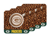 Green Bay Packers Latteam Coffee Art 4pk Coaster Set Packaged