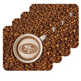 San Francisco 49ers Latteam Coffee Art 4pk Coaster Set Packaged