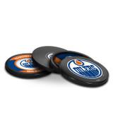 Edmonton Oilers Real Hockey Puck Coasters Set