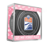 Edmonton Oilers My First Official Puck In Case Baby Girl Pink