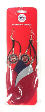 Washington Nationals Feather Earrings w/ Charms