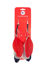 Boston Red Sox Feather Earrings w/ Charms