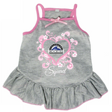 Colorado Rockies Dog Pet Pink Too Cute Squad Jersey Tee Dress