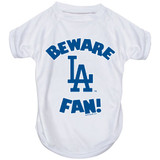 Los Angeles Dodgers Dog Pet Beware Fan Performance Tee T-Shirt