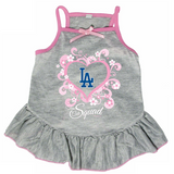 Los Angeles Dodgers Dog Pet Pink Too Cute Squad Jersey Tee Dress