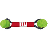 New York Giants Dog Dual Rubber Ball Bungee Tug Toss Toy