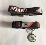 Miami Marlins Dog 3pc Pet Set Leash Collar ID Tag