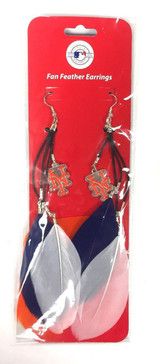 New York Mets Feather Earrings w/ Charms