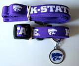 Kansas State Wildcats Dog 3pc Pet Set Leash Collar ID Tag