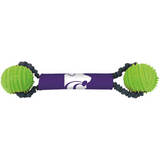 Kansas State Wildcats Dog Dual Rubber Ball Bungee Tug Toss Toy