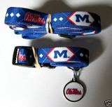 Mississippi Ole Miss Rebels Dog 3pc Pet Set Leash Collar ID Tag