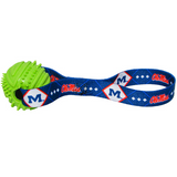 Mississippi Ole Miss Rebels Dog Rubber Ball Tug Toss Toy