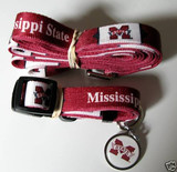 Mississippi State Bulldogs Dog 3pc Pet Set Leash Collar ID Tag