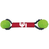 Oklahoma Sooners Dog Dual Rubber Ball Bungee Tug Toss Toy