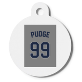 """""""Pudge"""" #99 Jersey Dog Cat ID Tag RuMe Find Lost Pet"""