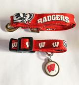 Wisconsin Badgers 3pc Pet Set Leash Collar ID Tag