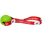 Utah Utes Dog Rubber Ball Tug Toss Toy