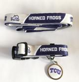 Texas Christian TCU Horned Frogs 3pc Pet Set Leash Collar ID Tag