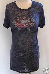 Columbus Blue Jackets Ice It Crystals Women's Burnout Tee Shirt