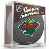 Minnesota Wild Real Hockey Puck Coasters Set