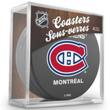 Montreal Canadiens Real Hockey Puck Coasters Set