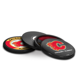 Calgary Flames Real Hockey Puck Coasters Set