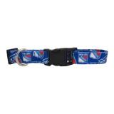 New York Rangers Dog Pet Adjustable Nylon Logo Collar
