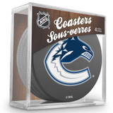 Vancouver Canucks Real Hockey Puck Coasters Set