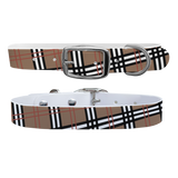 Designer Khaki Plaid Premium Dog Collar Odor Proof Waterproof Antimicrobial