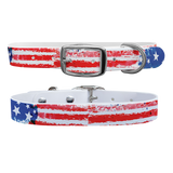 Americana Premium Dog Collar USA Flag Odor Proof Waterproof Antimicrobial