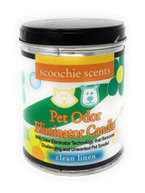 Pet Odor Eliminator Candle Clean Linen Non Toxic Soy Blend 100 Hrs