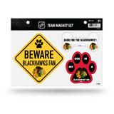 Chicago Blackhawks Pet Dog Magnet Set Beware Fan