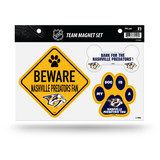 Nashville Predators Pet Dog Magnet Set Beware Fan