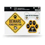 Pittsburgh Penguins Pet Dog Magnet Set Beware Fan