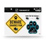San Jose Sharks Pet Dog Magnet Set Beware Fan