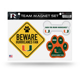 Miami Hurricanes Pet Dog Magnet Set Beware Fan