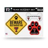 Texas Tech Red Raiders Pet Dog Magnet Set Beware Fan