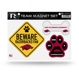 Arkansas Razorbacks Pet Dog Magnet Set Beware Fan
