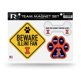 Illinois Fighting Illini Pet Dog Magnet Set Beware Fan