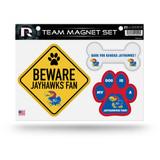 Kansas Jayhawks Pet Dog Magnet Set Beware Fan