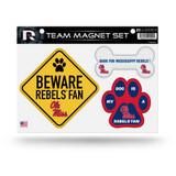 Mississippi Ole Miss Rebels Pet Dog Magnet Set Beware Fan