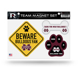 Mississippi State Bulldogs Pet Dog Magnet Set Beware Fan