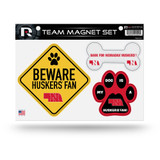 Nebraska Huskers Pet Dog Magnet Set Beware Fan