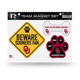 Oklahoma Sooners Pet Dog Magnet Set Beware Fan