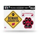 Wisconsin Badgers Pet Dog Magnet Set Beware Fan