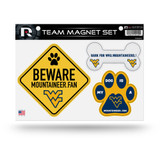 West Virginia Mountaineers Pet Dog Magnet Set Beware Fan