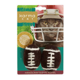 Natural Football Cat Toy 2pk Non-Toxic Wool