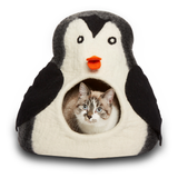 Natural Wool Penguin Cave Cat Bed Artisan