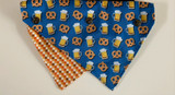 Beer & Pretzels Dog Cat Premium Bandana Snap On 2 Designs In 1